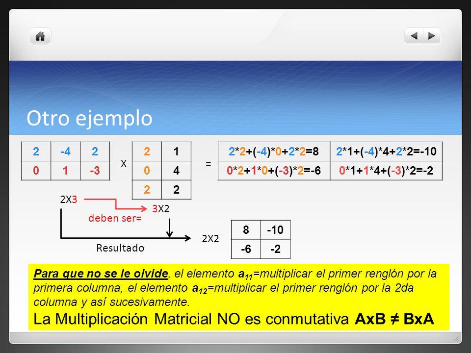 Otro ejemplo La Multiplicación Matricial NO es conmutativa AxB ≠ BxA 2