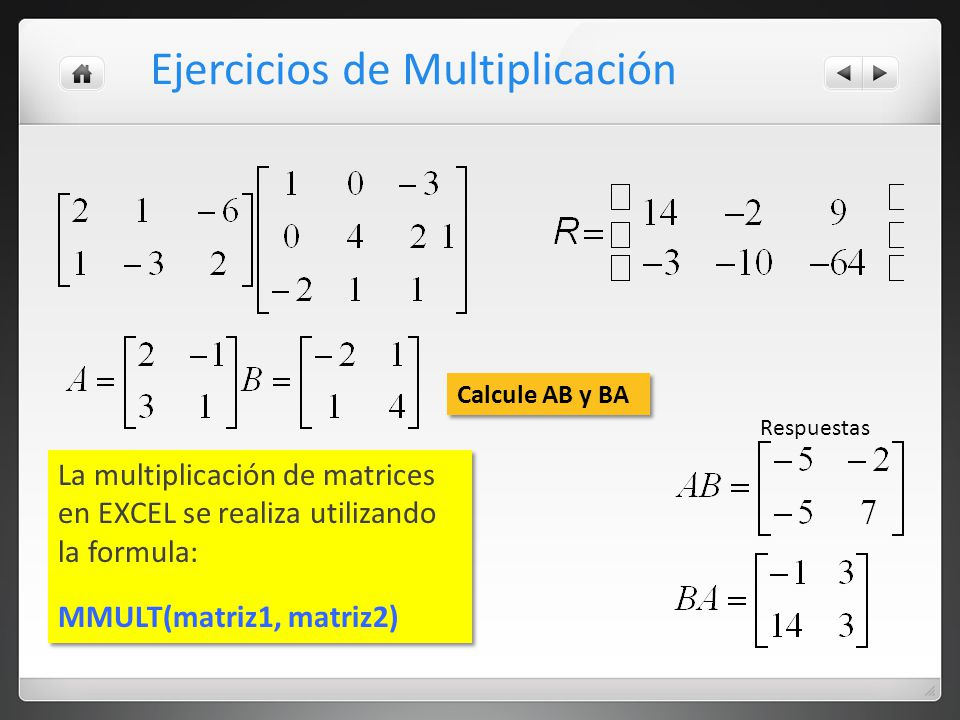 Ejercicios de Multiplicación