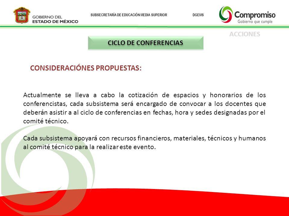 CONSIDERACIÓNES PROPUESTAS: