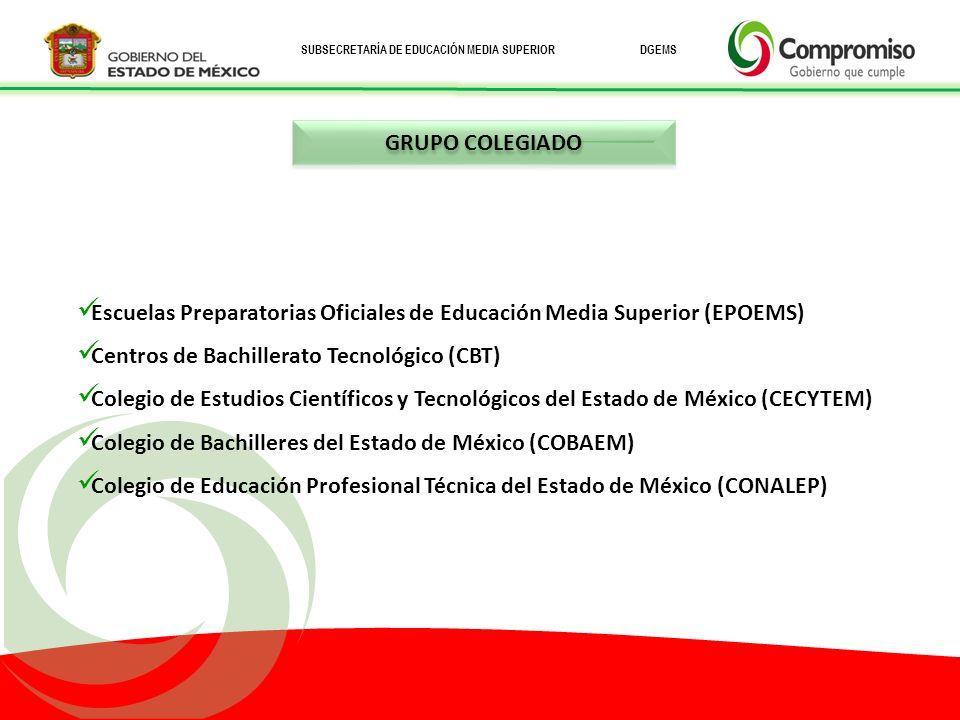 GRUPO COLEGIADO Escuelas Preparatorias Oficiales de Educación Media Superior (EPOEMS) Centros de Bachillerato Tecnológico (CBT)
