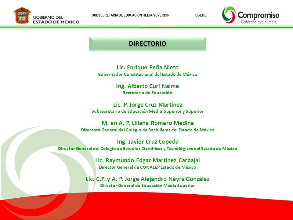 DIRECTORIO Lic. Enrique Peña Nieto Ing. Alberto Curi Naime