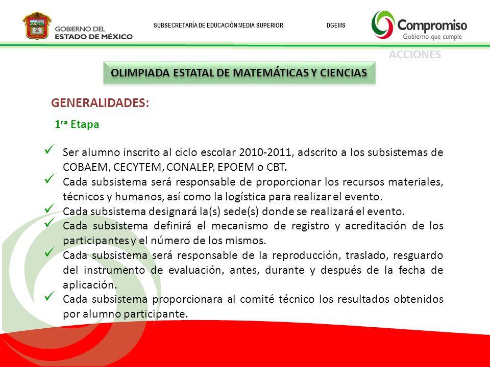 OLIMPIADA ESTATAL DE MATEMÁTICAS Y CIENCIAS