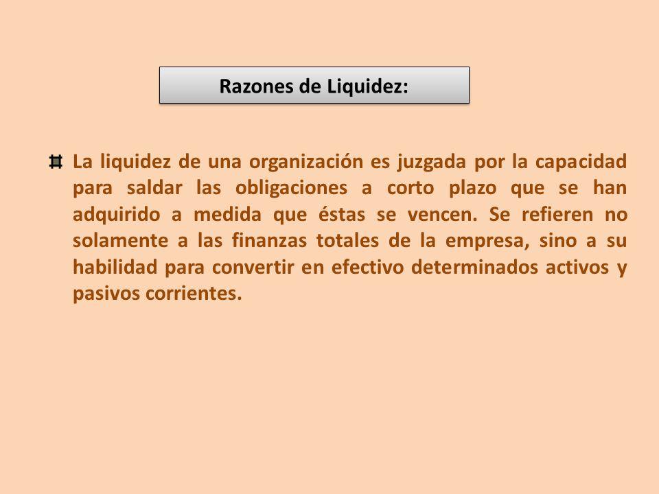 Razones de Liquidez: