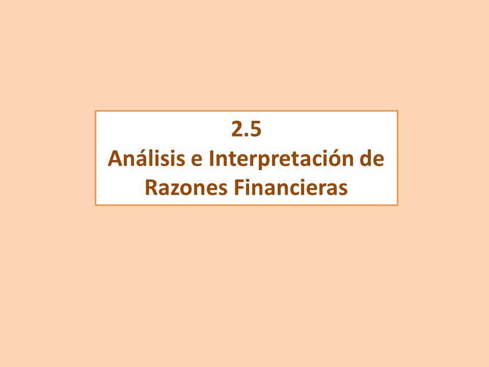 Análisis e Interpretación de Razones Financieras