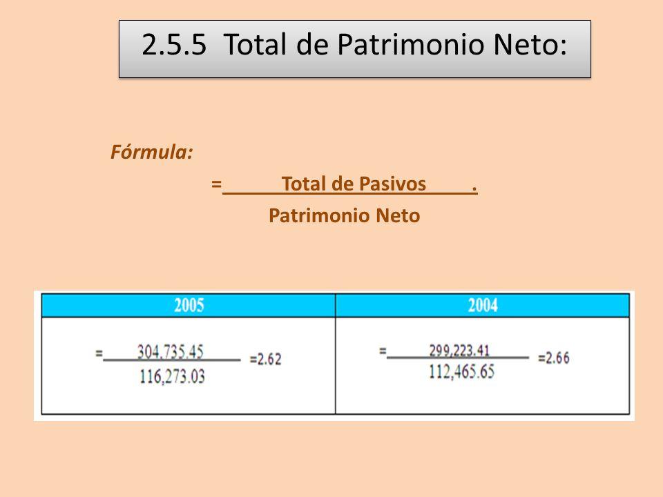 2.5.5 Total de Patrimonio Neto: