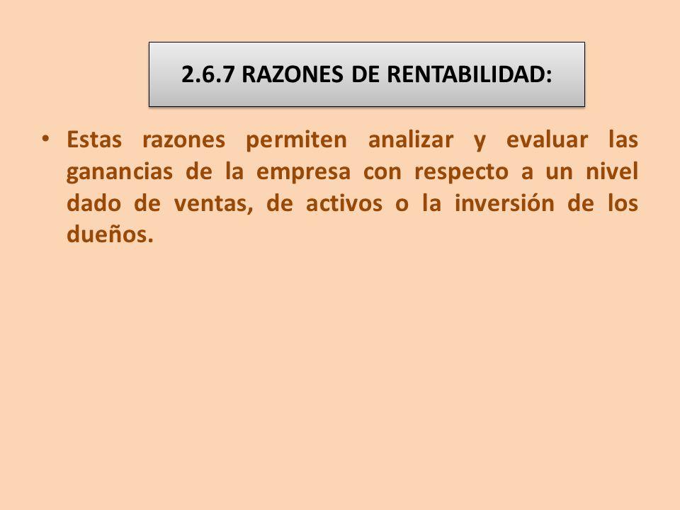 2.6.7 RAZONES DE RENTABILIDAD: