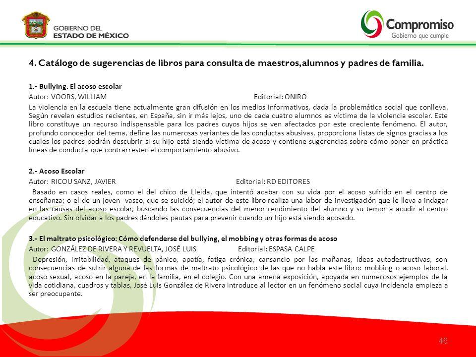 4. Catálogo de sugerencias de libros para consulta de maestros, alumnos y padres de familia.