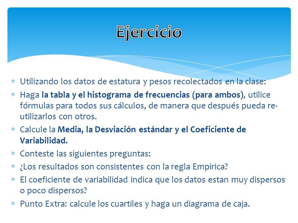 Ejercicio Utilizando los datos de estatura y pesos recolectados en la clase: