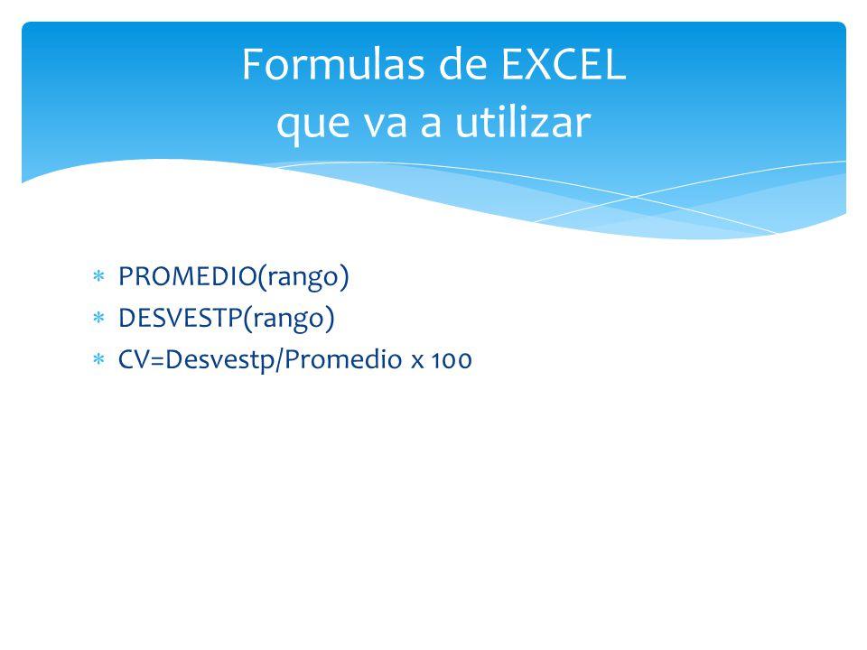Formulas de EXCEL que va a utilizar