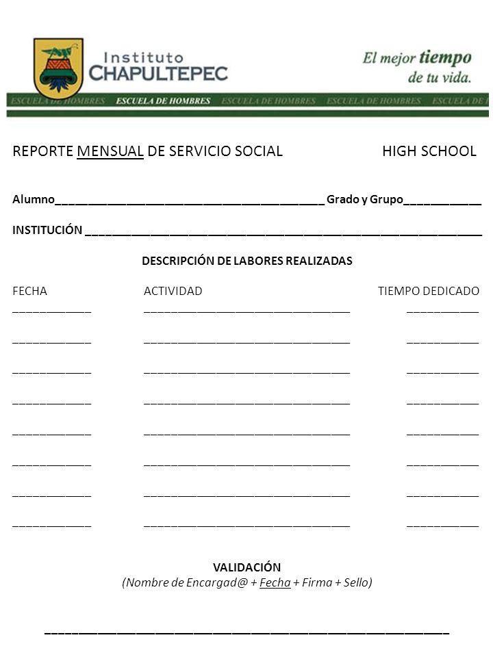 REPORTE MENSUAL DE SERVICIO SOCIAL HIGH SCHOOL