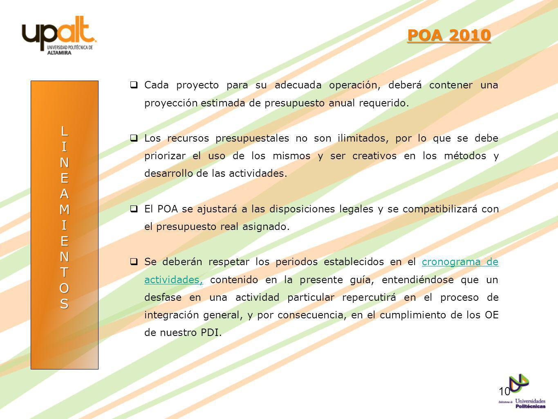 POA 2010 Cada proyecto para su adecuada operación, deberá contener una proyección estimada de presupuesto anual requerido.