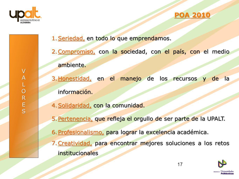 POA 2010 Seriedad, en todo lo que emprendamos.