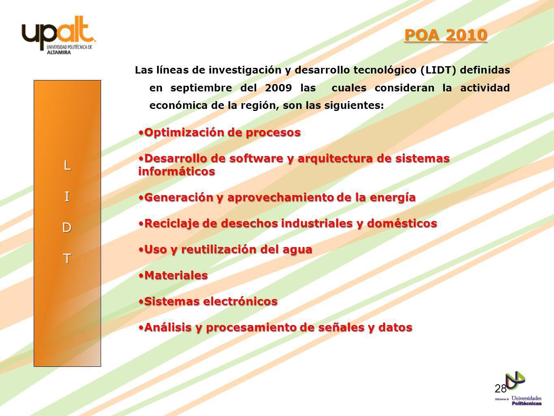 POA 2010 L I D T Optimización de procesos