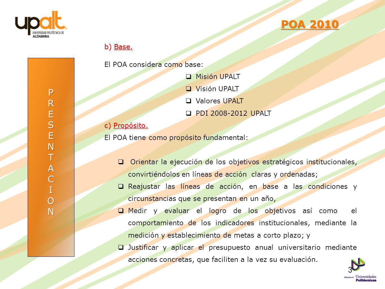 POA 2010 P R E S N T A C I O b) Base. El POA considera como base: