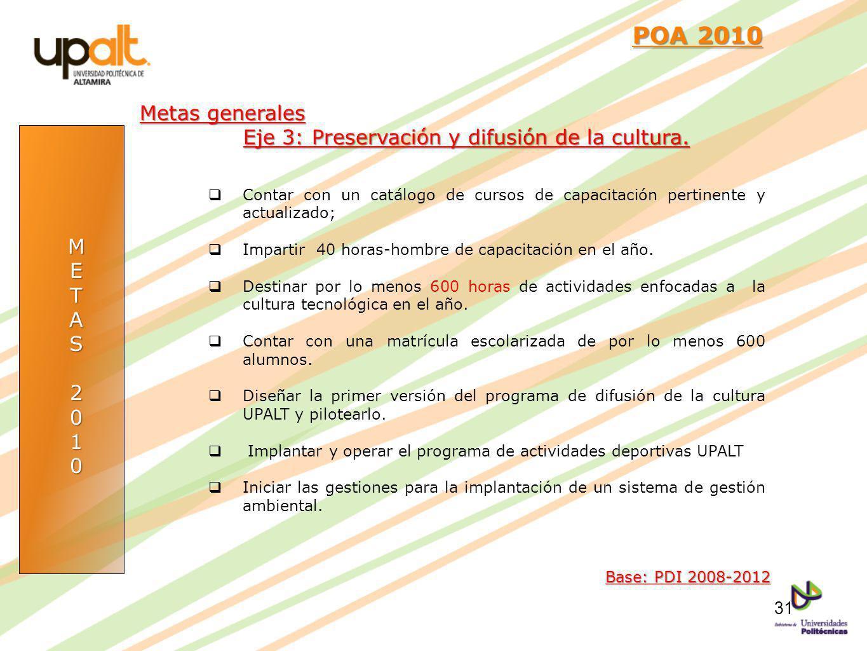 POA 2010 Metas generales Eje 3: Preservación y difusión de la cultura.