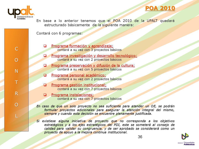 POA 2010 En base a lo anterior tenemos que el POA 2010 de la UPALT quedará estructurado básicamente de la siguiente manera: