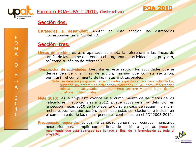 POA 2010 Formato POA-UPALT 2010. (instructivo) Sección dos.