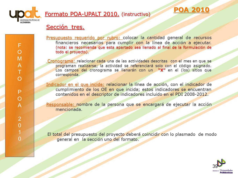 POA 2010 Formato POA-UPALT 2010. (instructivo) Sección tres. F O M A T