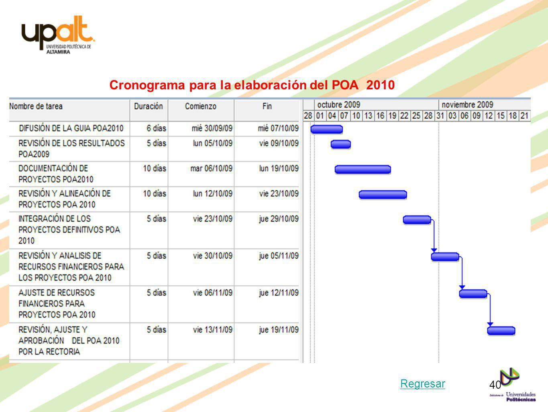 Cronograma para la elaboración del POA 2010