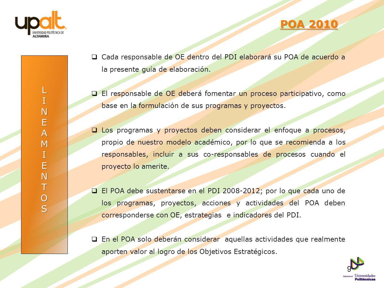 POA 2010 Cada responsable de OE dentro del PDI elaborará su POA de acuerdo a la presente guía de elaboración.