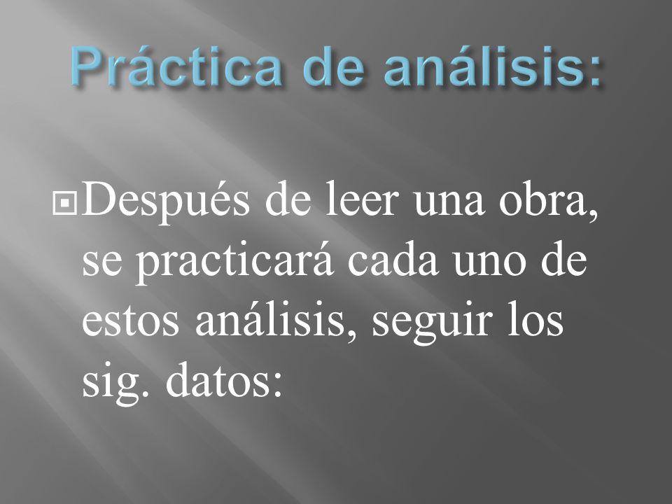 Práctica de análisis: Después de leer una obra, se practicará cada uno de estos análisis, seguir los sig.
