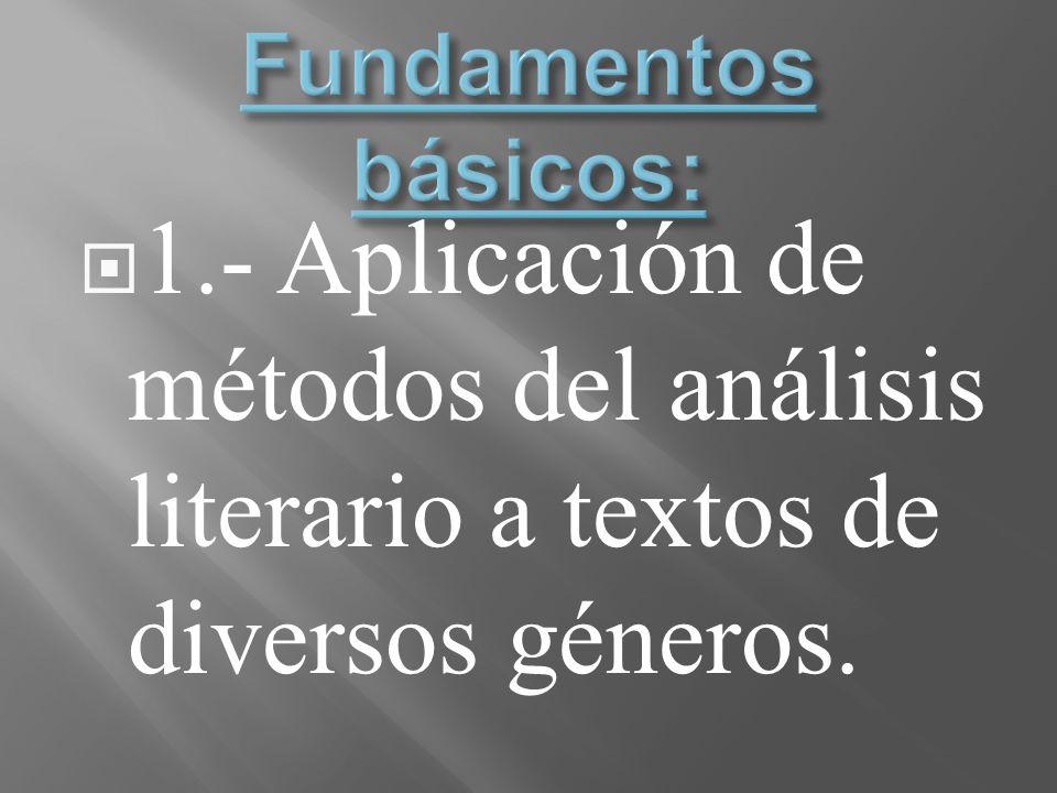 Fundamentos básicos: 1.- Aplicación de métodos del análisis literario a textos de diversos géneros.