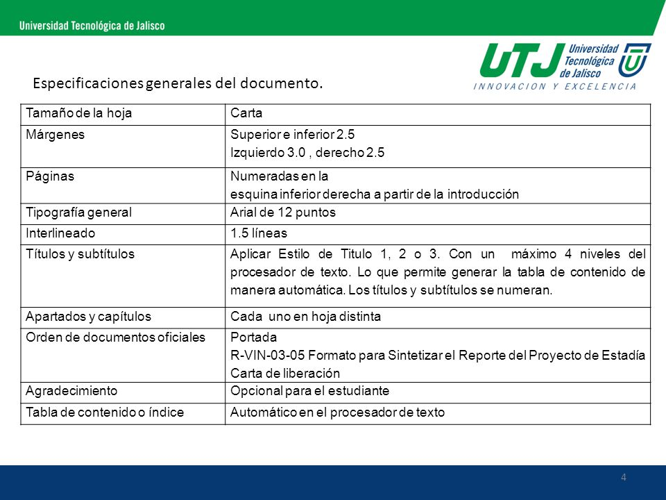 Especificaciones generales del documento.