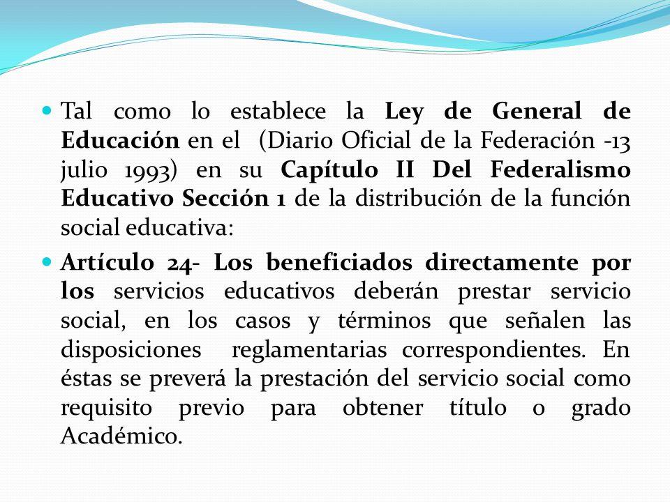 Tal como lo establece la Ley de General de Educación en el (Diario Oficial de la Federación -13 julio 1993) en su Capítulo II Del Federalismo Educativo Sección 1 de la distribución de la función social educativa: