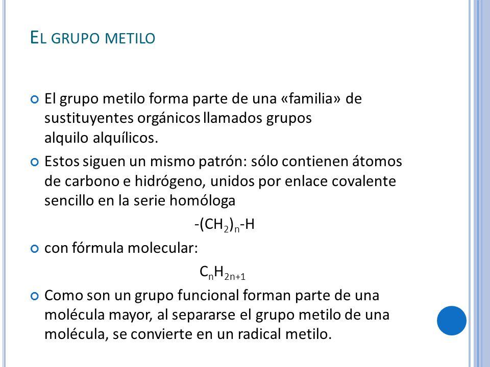 El grupo metilo El grupo metilo forma parte de una «familia» de sustituyentes orgánicos llamados grupos alquilo alquílicos.