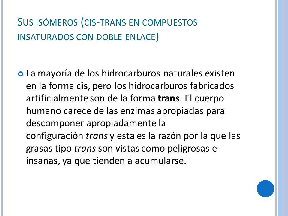 Sus isómeros (cis-trans en compuestos insaturados con doble enlace)