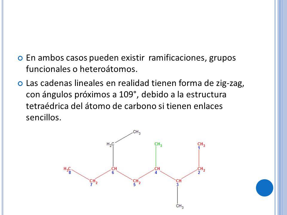 En ambos casos pueden existir ramificaciones, grupos funcionales o heteroátomos.