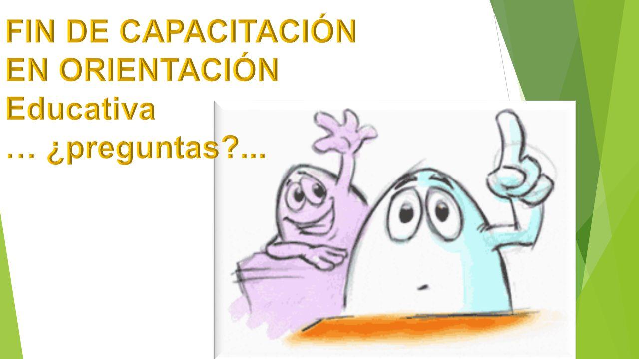 FIN DE CAPACITACIÓN EN ORIENTACIÓN Educativa … ¿preguntas ...
