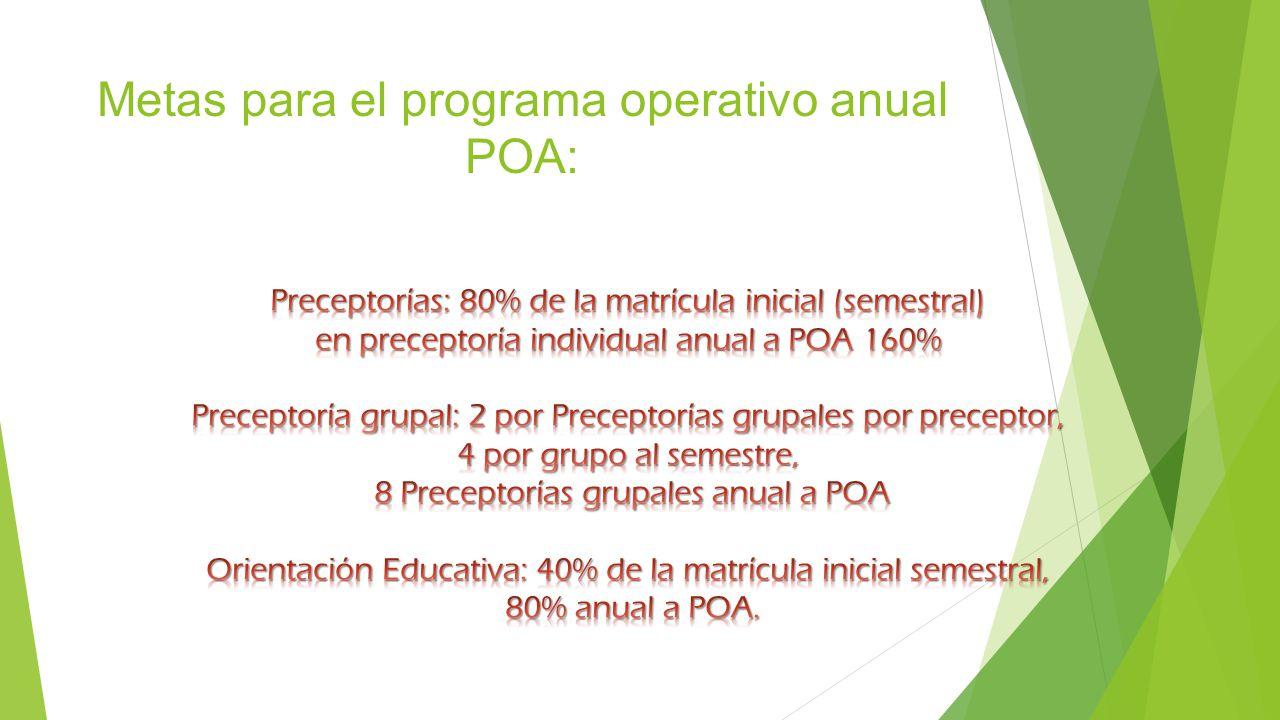 Metas para el programa operativo anual POA: