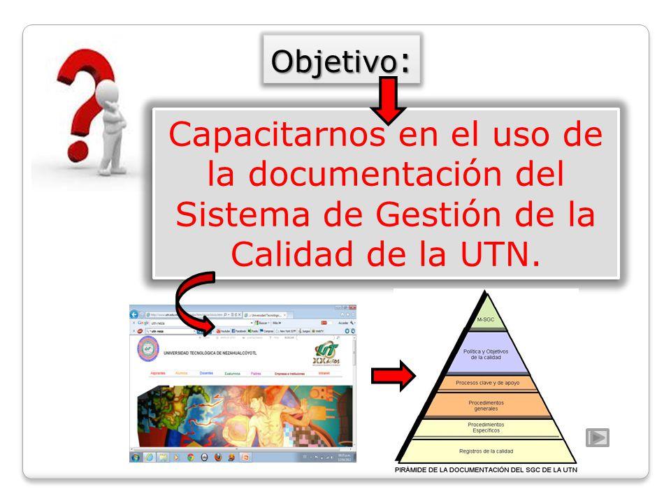 Objetivo: Capacitarnos en el uso de la documentación del Sistema de Gestión de la Calidad de la UTN.
