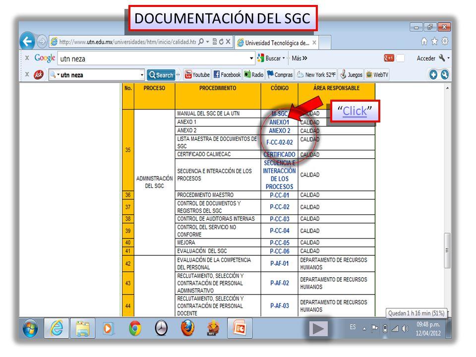 DOCUMENTACIÓN DEL SGC Click