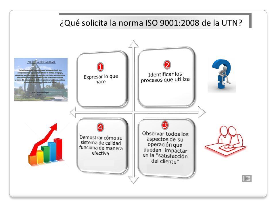 ¿Qué solicita la norma ISO 9001:2008 de la UTN