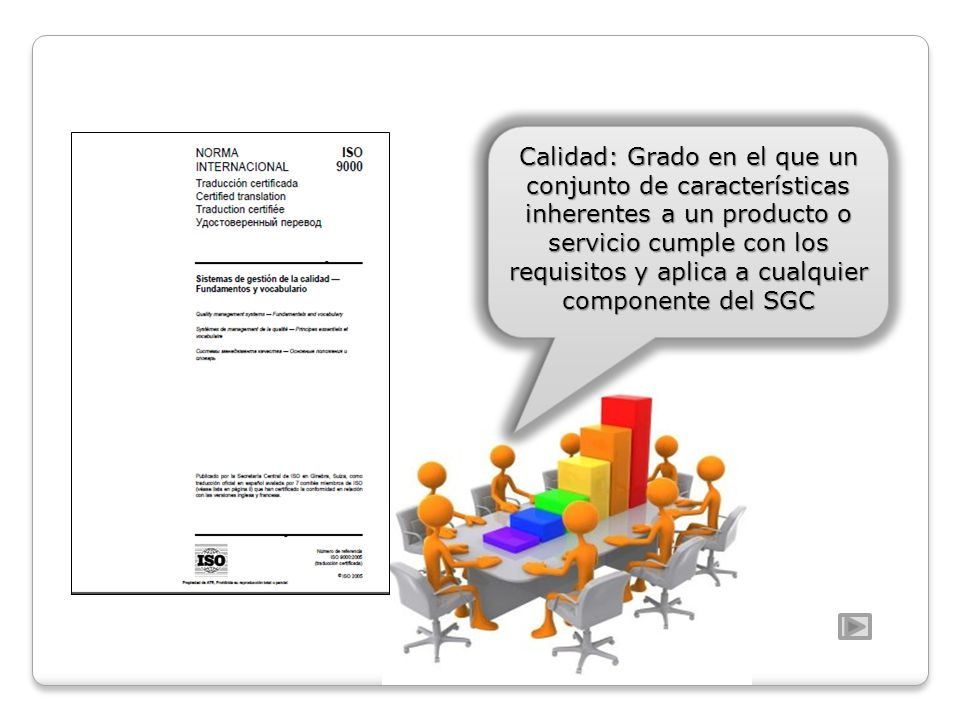 Calidad: Grado en el que un conjunto de características inherentes a un producto o servicio cumple con los requisitos y aplica a cualquier componente del SGC