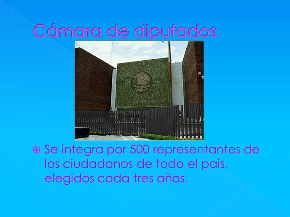 Cámara de diputados Se integra por 500 representantes de los ciudadanos de todo el país, elegidos cada tres años.