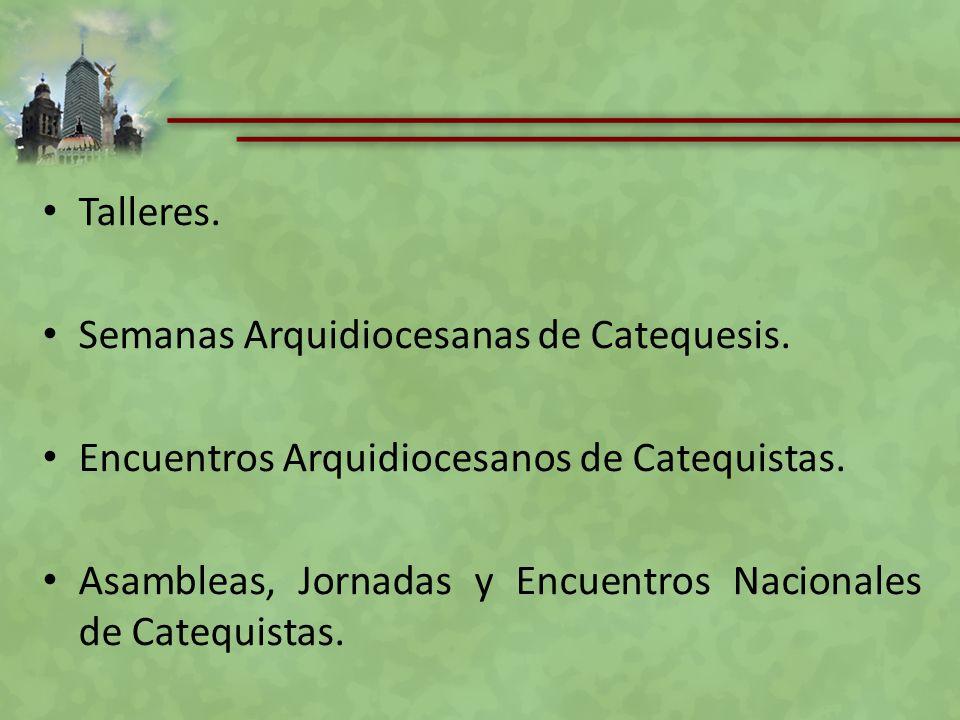 Talleres. Semanas Arquidiocesanas de Catequesis. Encuentros Arquidiocesanos de Catequistas.