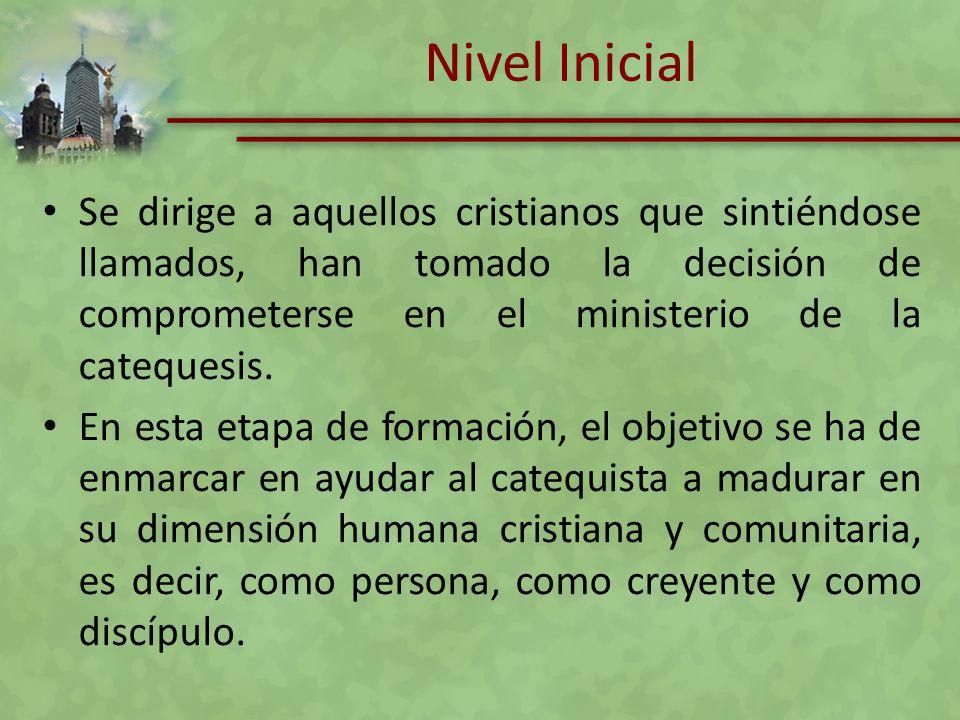 Nivel Inicial Se dirige a aquellos cristianos que sintiéndose llamados, han tomado la decisión de comprometerse en el ministerio de la catequesis.