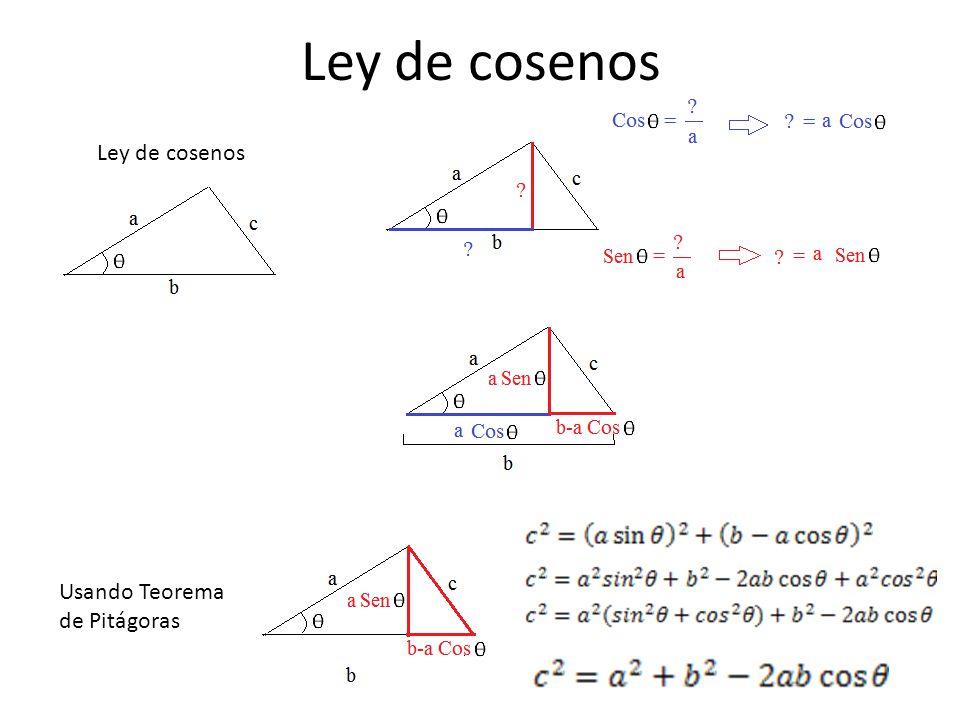 Ley de cosenos Ley de cosenos Usando Teorema de Pitágoras