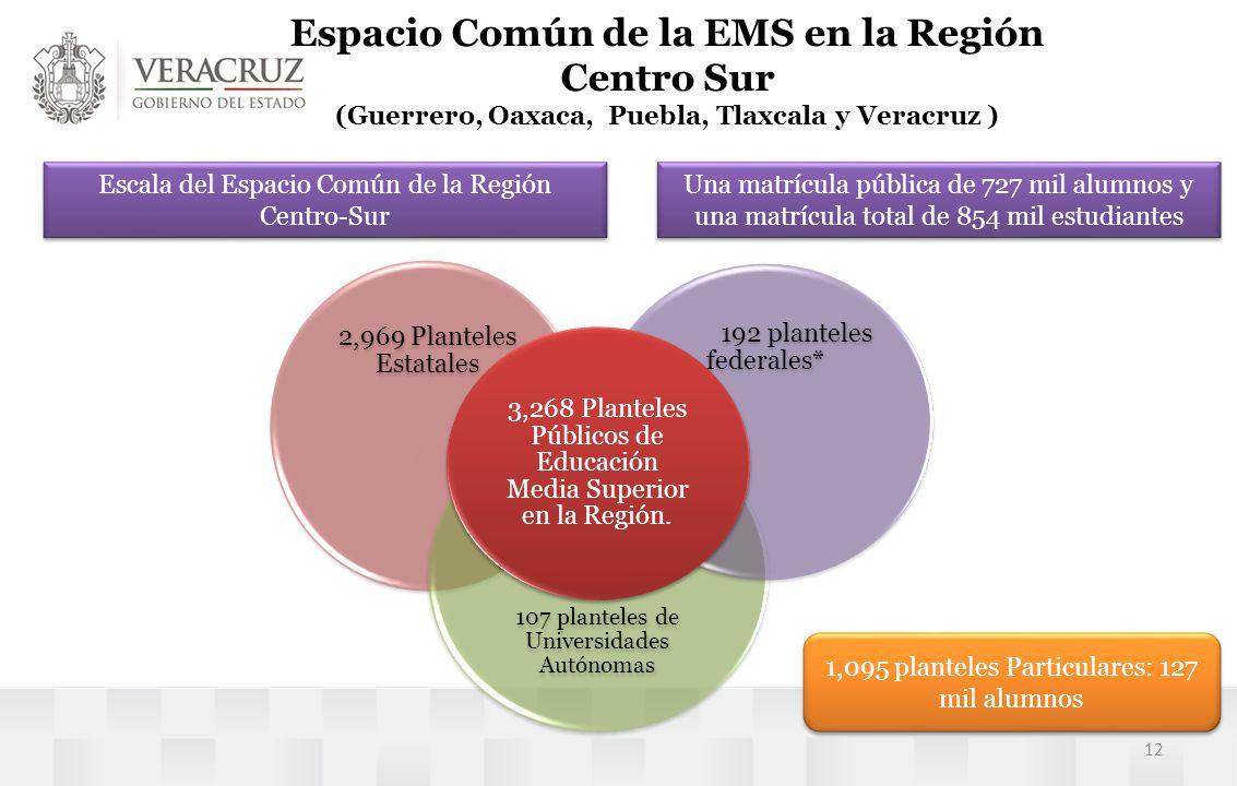 Espacio Común de la EMS en la Región Centro Sur (Guerrero, Oaxaca, Puebla, Tlaxcala y Veracruz )