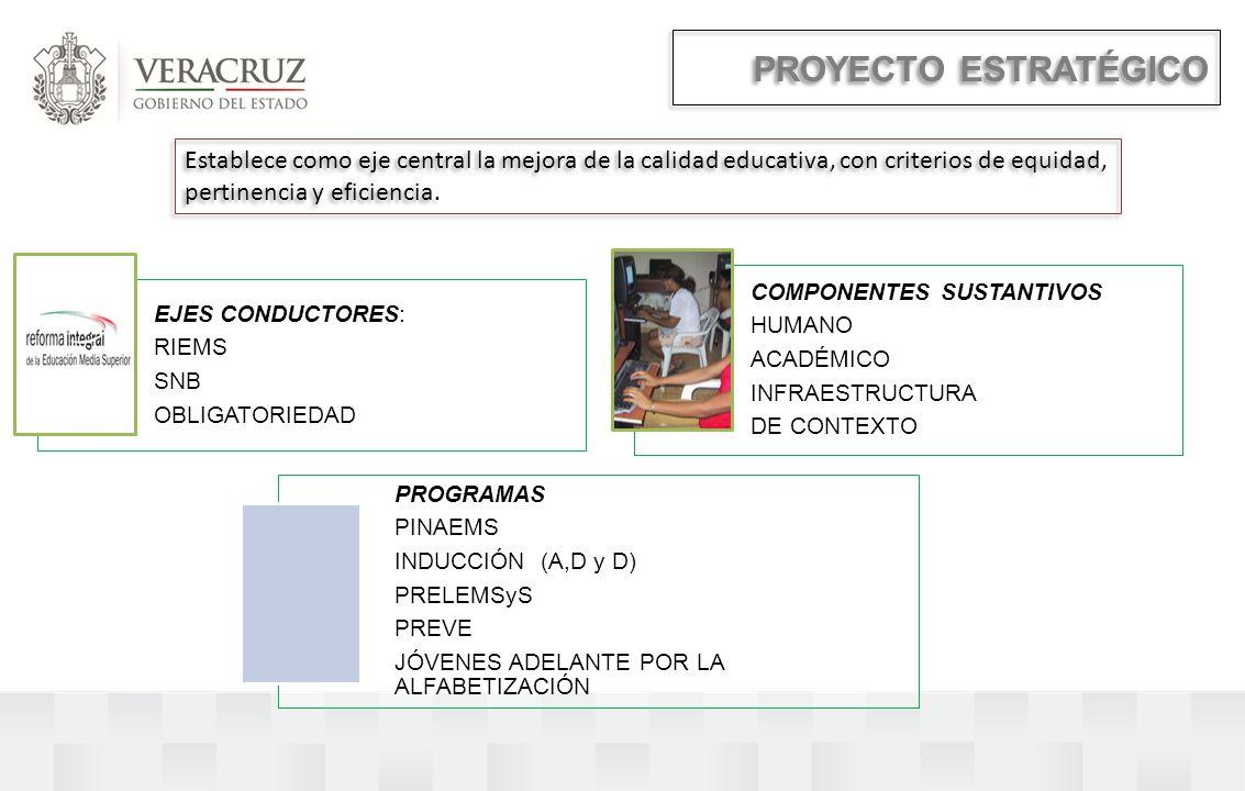 PROYECTO ESTRATÉGICO Establece como eje central la mejora de la calidad educativa, con criterios de equidad, pertinencia y eficiencia.