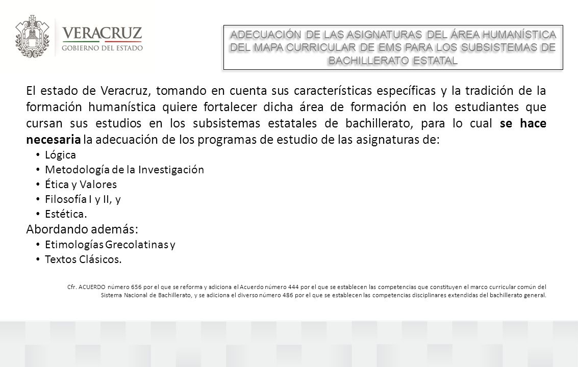ADECUACIÓN DE LAS ASIGNATURAS DEL ÁREA HUMANÍSTICA DEL MAPA CURRICULAR DE EMS PARA LOS SUBSISTEMAS DE BACHILLERATO ESTATAL