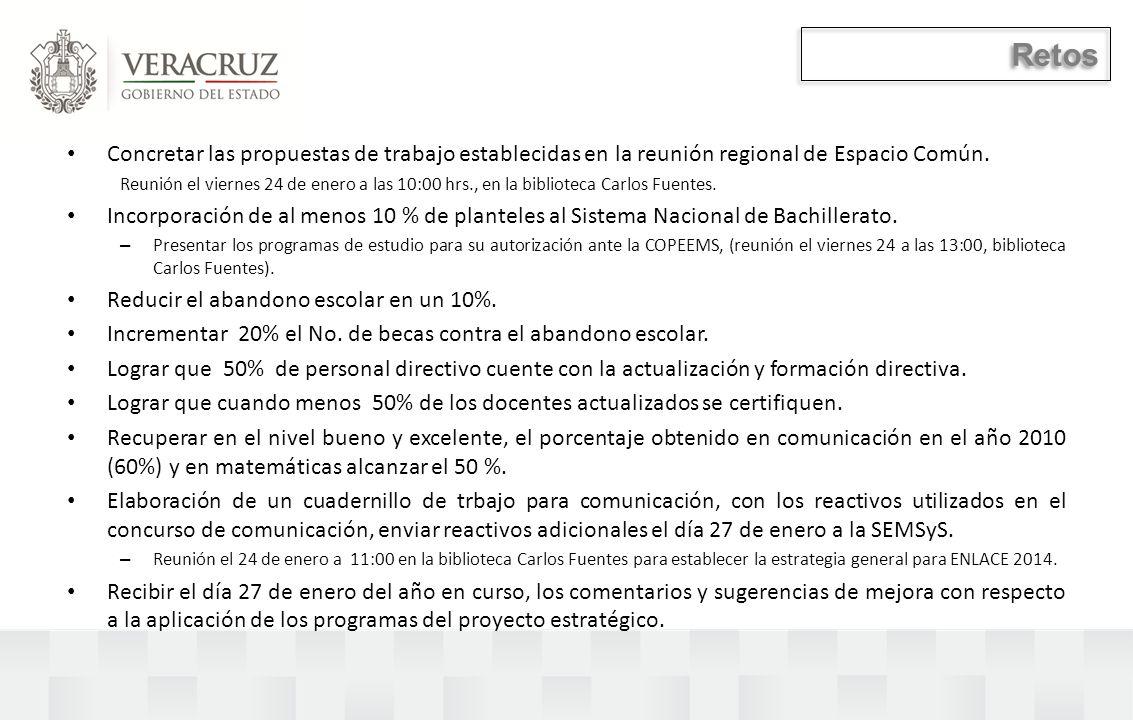 Retos Concretar las propuestas de trabajo establecidas en la reunión regional de Espacio Común.