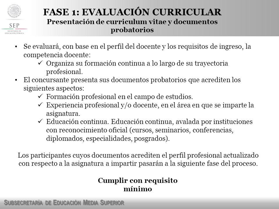 FASE 1: EVALUACIÓN CURRICULAR