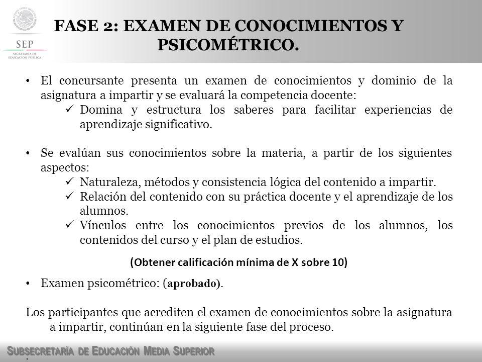 FASE 2: EXAMEN DE CONOCIMIENTOS Y PSICOMÉTRICO.