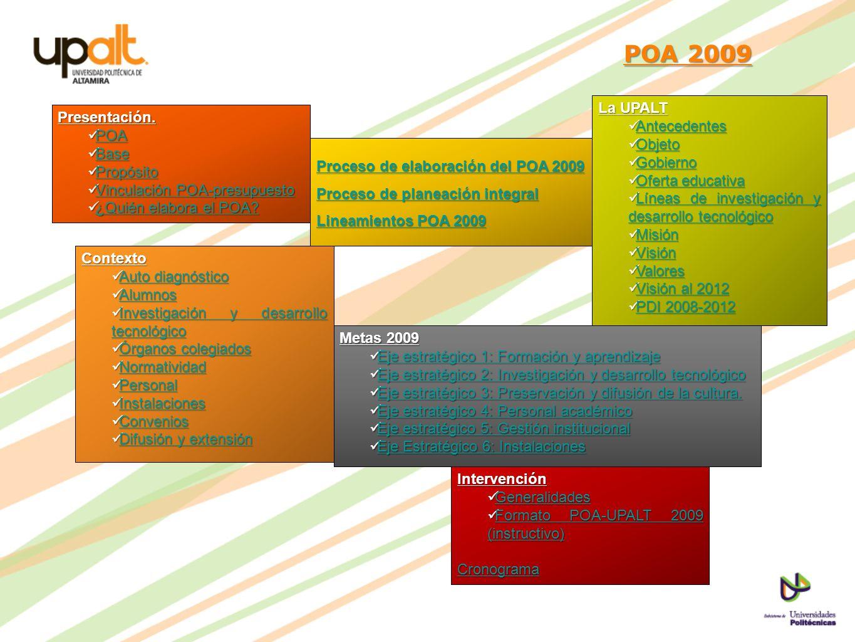 POA 2009 La UPALT Antecedentes Objeto Gobierno Oferta educativa