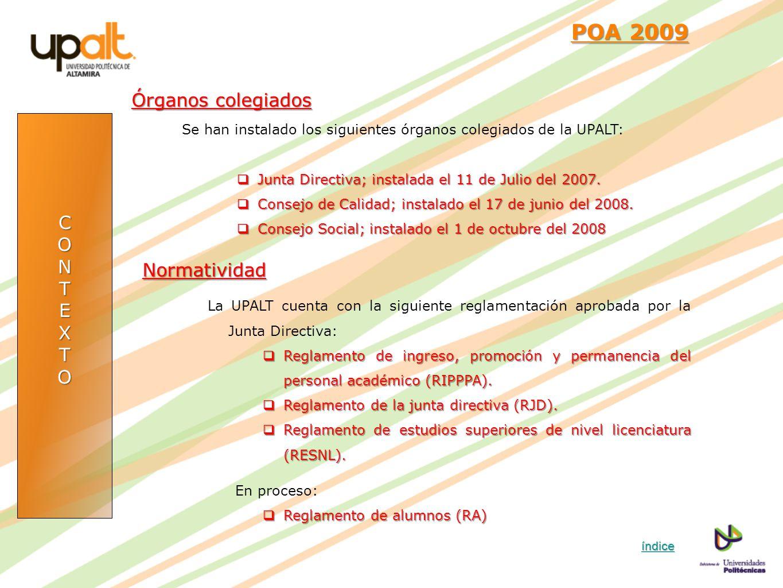 POA 2009 Órganos colegiados C O N T E Normatividad X