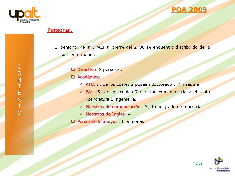 POA 2009 Personal. El personal de la UPALT al cierre del 2008 se encuentra distribuido de la siguiente manera: